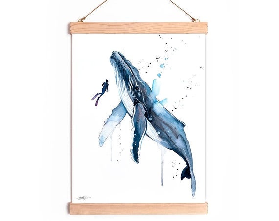 Scuba Diving with Humpback Whale Watercolor Painting Framed, Wall Hanging print, Animal, Home Decor, Wall Art, Illustration, Ready to Hang,