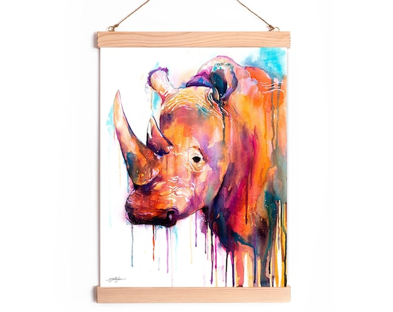 Colorful Rhino Watercolor Painting Framed, Wall Hanging print, Animal, Home Decor, Wall Art, Illustration, Ready to Hang, Nursery, Print