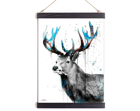 Black and white Red Deer Watercolor Painting Framed, Wall Hanging print, Animal, Home Decor, Wall Art, Illustration, Ready to Hang, Nursery