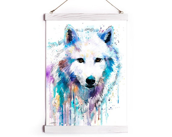 Arctic Wolf Watercolor Painting Framed, Wall Hanging print, Animal, Home Decor, Wall Art, Illustration, Ready to Hang, Nursery, Print