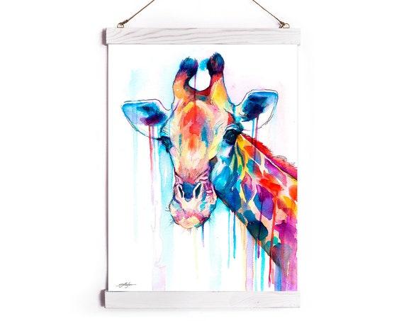 Giraffe Watercolor Painting Framed, Wall Hanging print, Animal, Home Decor, Wall Art, Illustration, Ready to Hang, Nursery, Print