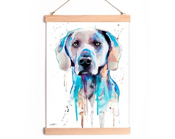 Blue Weimaraner Watercolor Painting Framed, Wall Hanging print, Animal, Home Decor, Wall Art, Illustration, Ready to Hang, Nursery, print,