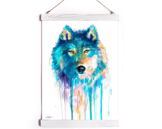 Blue wolf Watercolor Painting Framed, Wall Hanging print, Animal, Home Decor, Wall Art, Illustration, Ready to Hang, Nursery, print, gift