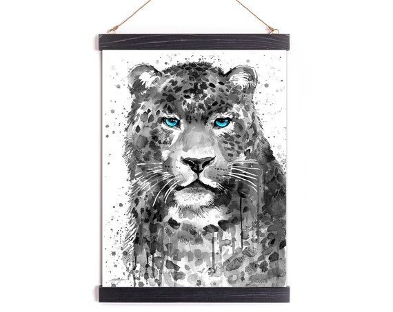 Black and white Panther Leopard Jaguar Watercolor Painting Framed, Wall Hanging print, Animal, Home Decor, Illustration, Ready to Hang,