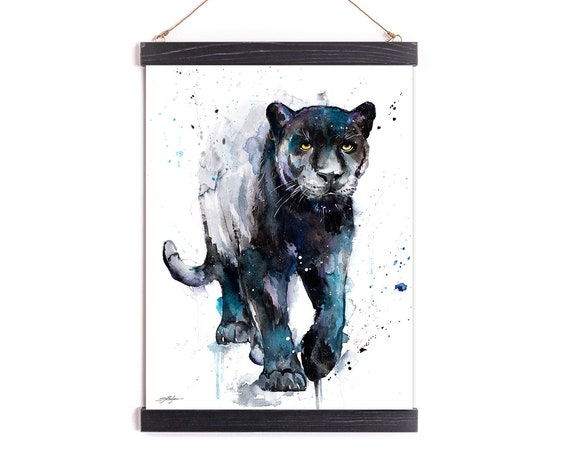 Black panther Watercolor Painting Framed, Wall Hanging print, Animal, Home Decor, Wall Art, Illustration, Ready to Hang, Framed, Nursery