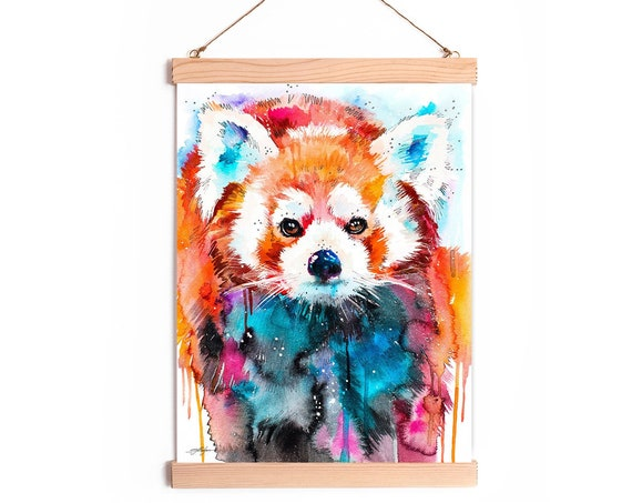 Red Panda Watercolor Painting Framed, Wall Hanging print, Animal, Home Decor, Wall Art, Illustration, Ready to Hang, Nursery, Print