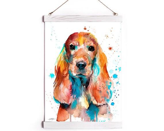 English Cocker Spaniel Watercolor Painting Framed, Wall Hanging print, Animal, Home Decor, Wall Art, Illustration, Ready to Hang, Nursery,