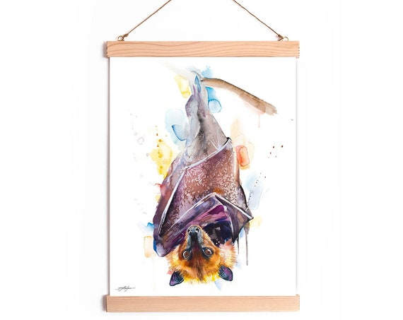 Giant golden crowned flying fox Golden capped fruit Watercolor Painting Framed, Wall Hanging print, Animal, Illustration, Ready to Hang,