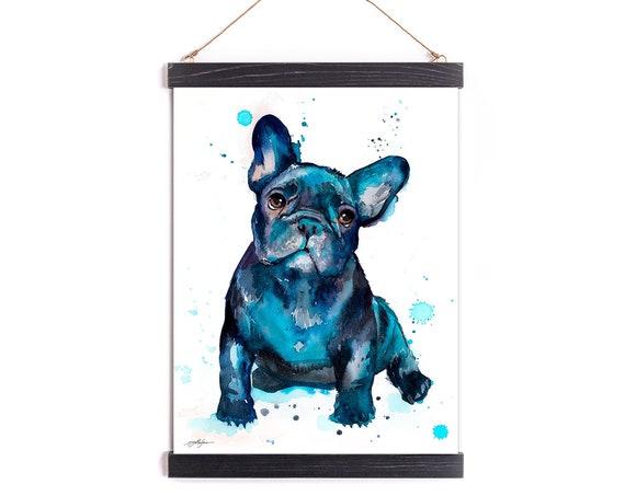 Black French Bulldog Baby Watercolor Painting Framed, Wall Hanging print, Animal, Home Decor, Wall Art, Illustration, Ready to Hang, Nursery