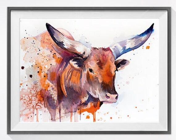 Original Watercolour Painting- Longhorn art, animal, illustration, animal watercolor, animals paintings, animals, portrait,