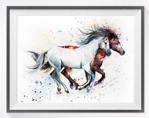 Original Watercolour Painting- Horses art, animal, illustration, animal watercolor, animals paintings, animals, portrait,