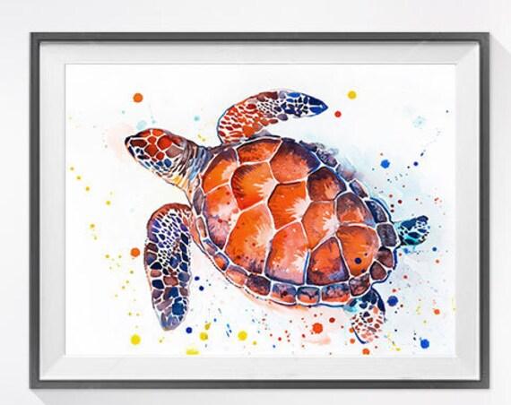 Original Watercolour Painting- Sea turtle art, animal,  illustration, animal watercolor, animal art, porcupine Original