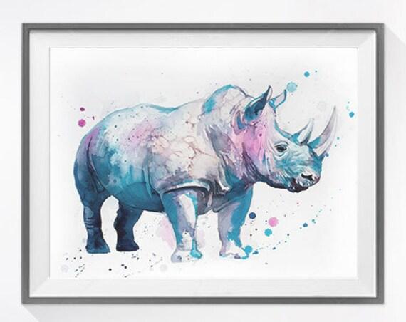 Original Watercolour Painting- Rhino art, animal, Rhino illustration, animal watercolor, animal art, Rhino Original