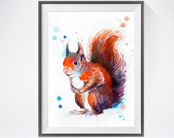 Original Watercolour Painting- Red squirrel art, animal, illustration, animal watercolor, animals paintings, animals, portrait,