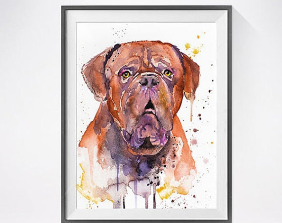 Original Watercolour Painting- Dogue de Bordeaux art, animal, illustration, animal watercolor, animals paintings, animals, portrait,