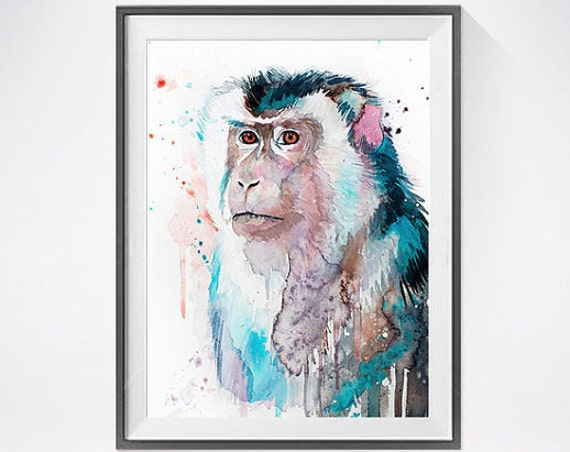 Original Watercolour Painting- Macaque art, animal, illustration, animal watercolor, animals paintings, animals, portrait,