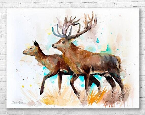 Original Watercolour Painting- Deer love art, animal, illustration, animal watercolor, animals paintings, animals, portrait,