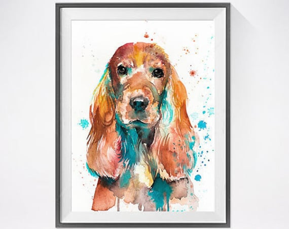Original Watercolour Painting- English Cocker Spaniel  art, animal, illustration, animal watercolor, animals paintings, animals, portrait,