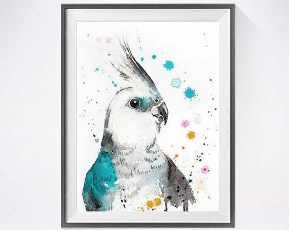 Original Watercolour Painting- Cockatiel parrot art, animal, illustration, animal watercolor, animals paintings, animals, portrait,