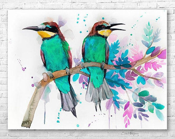 Original Watercolour Painting- Bee-eater art, animal, illustration, animal watercolor, animals paintings, animals, portrait