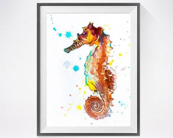 Original Watercolour Painting- Seahorse  art, animal, illustration, animal watercolor, animals paintings, animals, portrait,