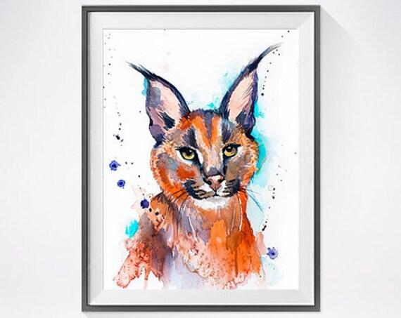 Original Watercolour Painting- Caracal art, animal, illustration, animal watercolor, animals paintings, animals, portrait,