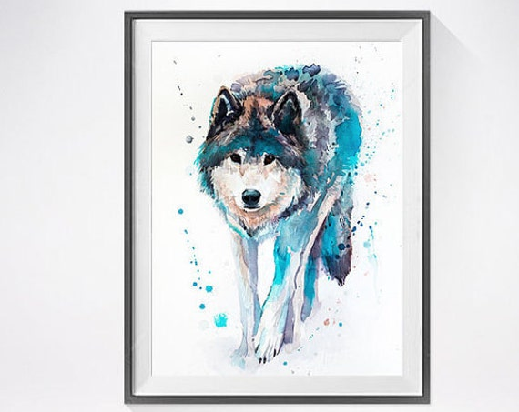 Original Watercolour Painting- Wolf art, animal, Wolf illustration, animal watercolor, animal art, Wolf Original