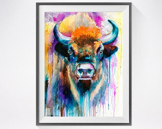 Original Watercolour Painting- Bison art, animal, illustration, animal watercolor, animals paintings, animals, portrait,