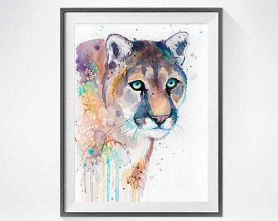 Original Watercolour Painting- Puma art, animal, Puma illustration, animal watercolor, animal art, Puma Original