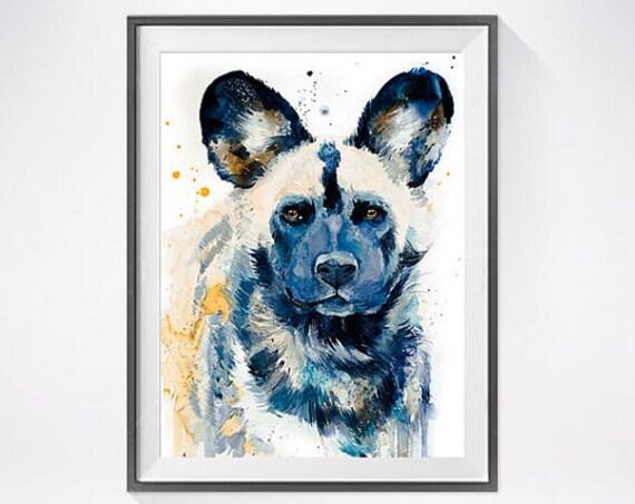 Original Watercolour Painting- Wild Dog art, animal, illustration, animal watercolor, animals paintings, animals, portrait,