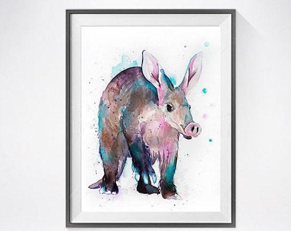 Original Watercolour Painting- Aardvark art, animal illustration, animal watercolor, animals paintings, animals, portrait,