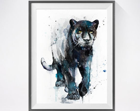 Original Watercolour Painting- Black panther art, animal, illustration, animal watercolor, animals paintings, animals, portrait,