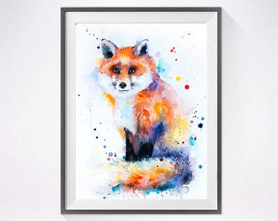 Original Watercolour Painting- Red Fox art, animal, illustration, animal watercolor, animals paintings, animals, portrait,