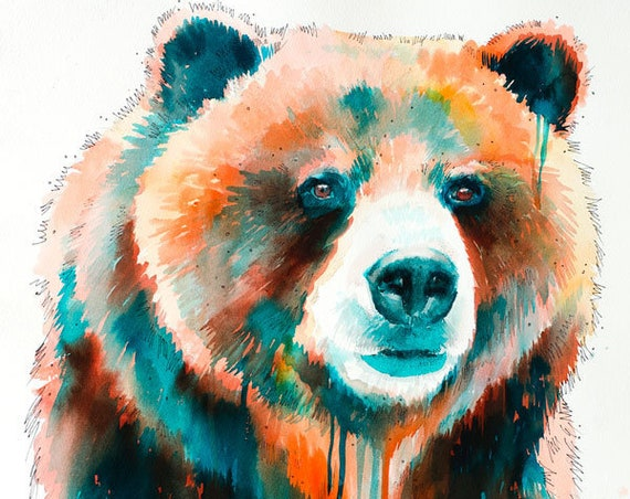 Original Watercolour Painting- Grizzly bear art, animal, illustration, animal watercolor, animals paintings, animals, portrait,