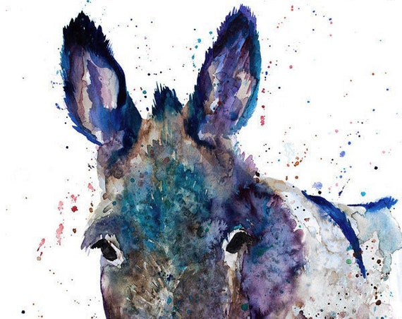 Original Watercolour Painting- Blue Donkey art, animal, illustration, animal watercolor, animals paintings, animals, portrait,