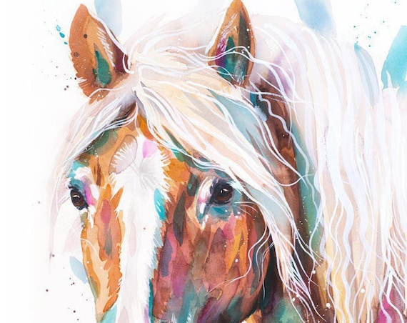 Original Watercolour Painting- Haflinger horse art, animal, illustration, animal watercolor, animals paintings, animals, portrait,