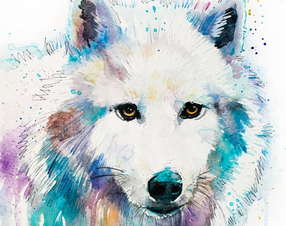 Original Watercolour Painting- Arctic Wolf art, animal, illustration, animal watercolor, animals paintings, animals, portrait,