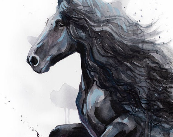 Original Watercolour Painting- Friesian Horse art, animal, illustration, animal watercolor, animals paintings, animals, portrait,