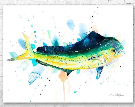 Mahi Mahi, Dolphin fish, Dorado watercolor painting print by Slaveika Aladjova, art, animal, illustration, Sea art, Wall art, fish art,