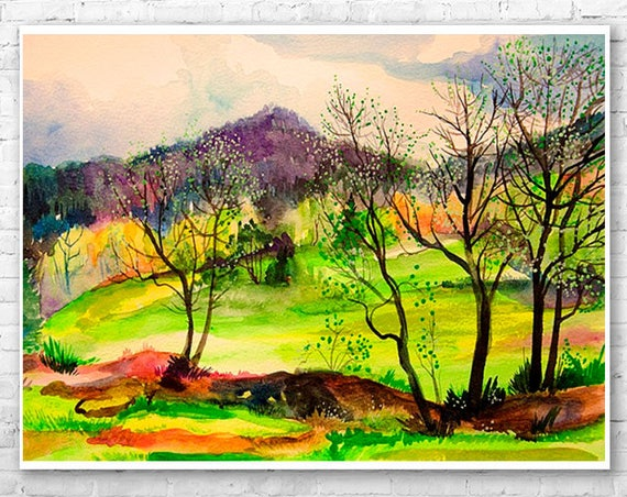 Spring landscape watercolor painting print by Slaveika Aladjova, illustration, Contemporary, nature art, landscape, original