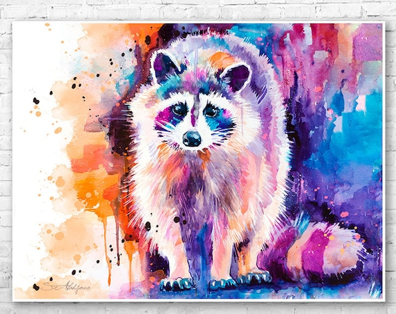 Raccoon watercolor painting print by Slaveika Aladjova, art, animal, illustration, home decor, wall art, gift, portrait, Contemporary