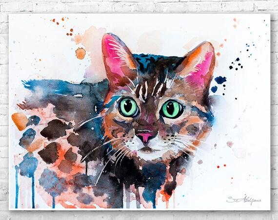 Bengal cat watercolor painting print by Slaveika Aladjova, art, animal, illustration, home decor, Nursery, gift, Wildlife, wall art,