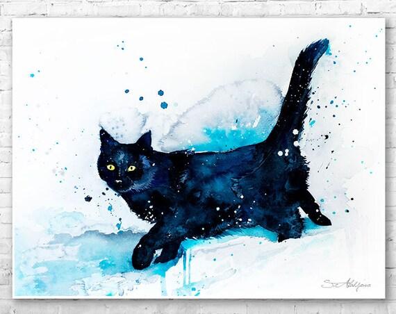 Black Cat watercolor painting print by Slaveika Aladjova, art, animal, illustration, home decor, wall art, gift, Wildlife, Contemporary