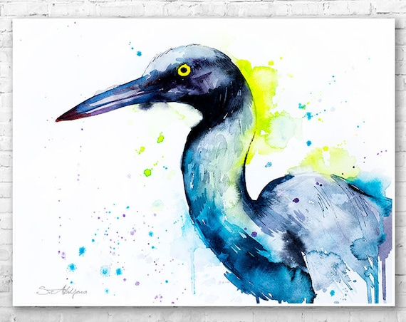Heron watercolor painting print by Slaveika Aladjova, art, animal, illustration, bird, home decor, wall art, Wildlife, Contemporary