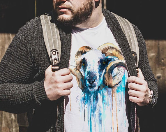 Blue Sheep T-shirt, Unisex T-shirt, ring spun Cotton 100%, watercolor T-shirt, T shirt art, T shirt animal, XS, S, M, L, XL, XXL