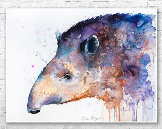 Tapir watercolor painting print by Slaveika Aladjova, art, animal, illustration, home decor, Nursery, gift, Wildlife, wall art