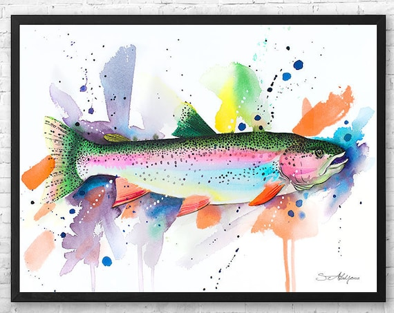 Rainbow trout watercolor framed canvas by Slaveika Aladjova, Limited edition, art, animal watercolor, animal illustration,