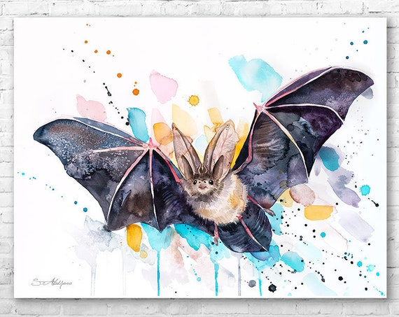 Original Watercolour Painting- Townsend's big-eared bat art, animal illustration, animal watercolor, animals paintings, animals, portrait,