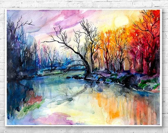 River landscape watercolor painting print by Slaveika Aladjova, illustration, Contemporary, nature art, landscape, original