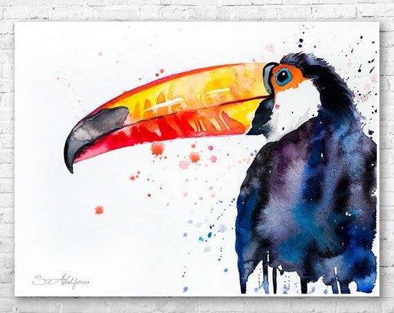 Toco Toucan watercolor painting print by Slaveika Aladjova, art, animal, illustration, bird, home decor, wall art, gift, Wildlife